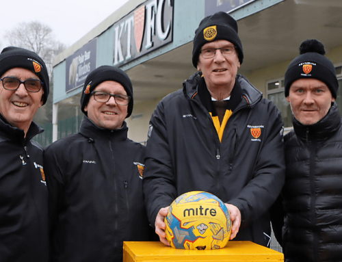 Keynsham Town Walking Football sponsors the match ball against Hallen
