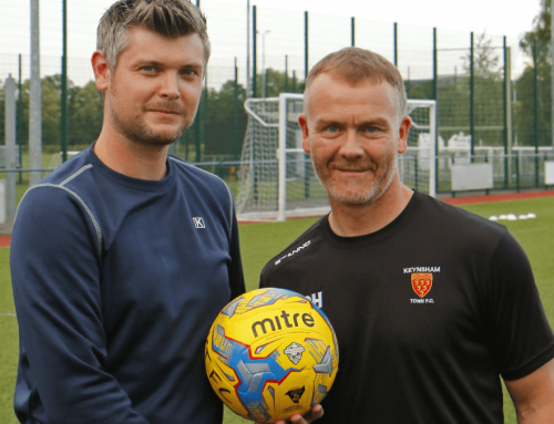 Dave Hallett from KITCO Work & Sportswear sponsors the match ball against Wellignton