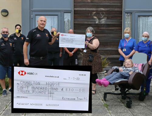 The football club presents £830 to Charlton House care home in support of COVID19